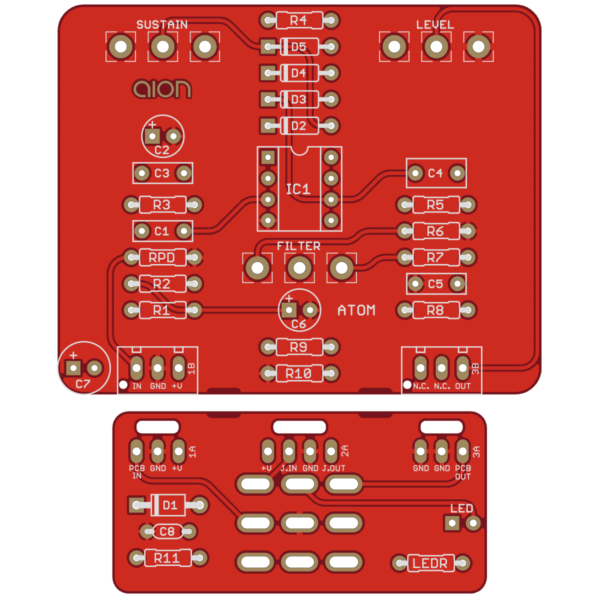 Atom Fuzz Drive printed circuit board