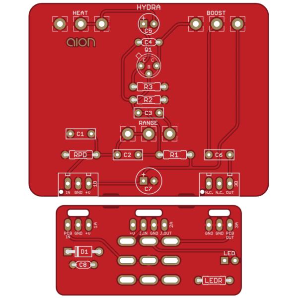 Hydra Treble Booster printed circuit board