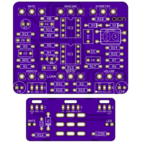 Luna Optical Tremolo printed circuit board
