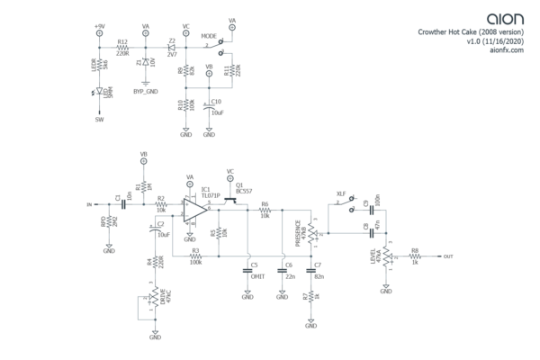 Crowther Hot Cake Trace Schematic