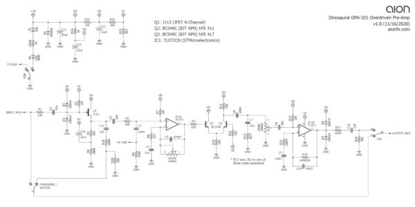 Dinosaural OPA-101 schematic