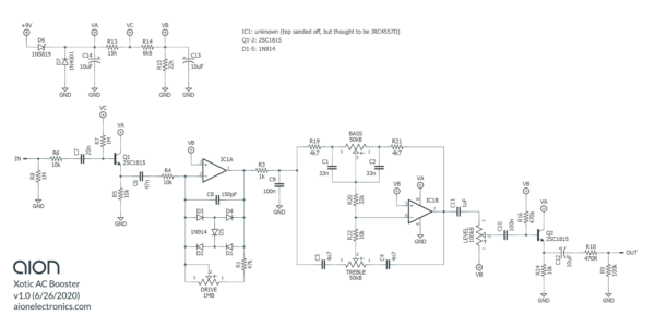 Xotic AC Booster Trace Schematic