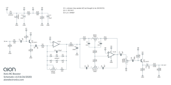 Xotic RC Booster Trace Schematic